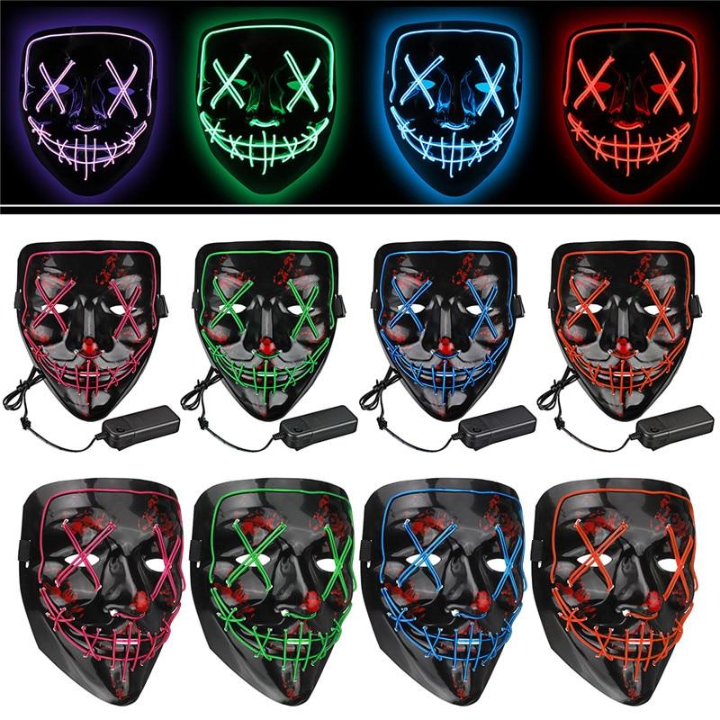 Led Mask Halloween Party Masque Masquerade Masks Neon Maske Neon Light Skull LED Light Flash Grimace Fluorescent Novelty Mask