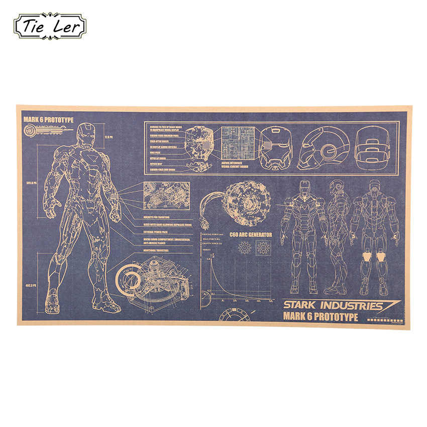 1 Pcs Iron Man Design Drawings Nostalgic Retro Kraft Paper Poster Decorative Painting Home Decor Wall Sticker