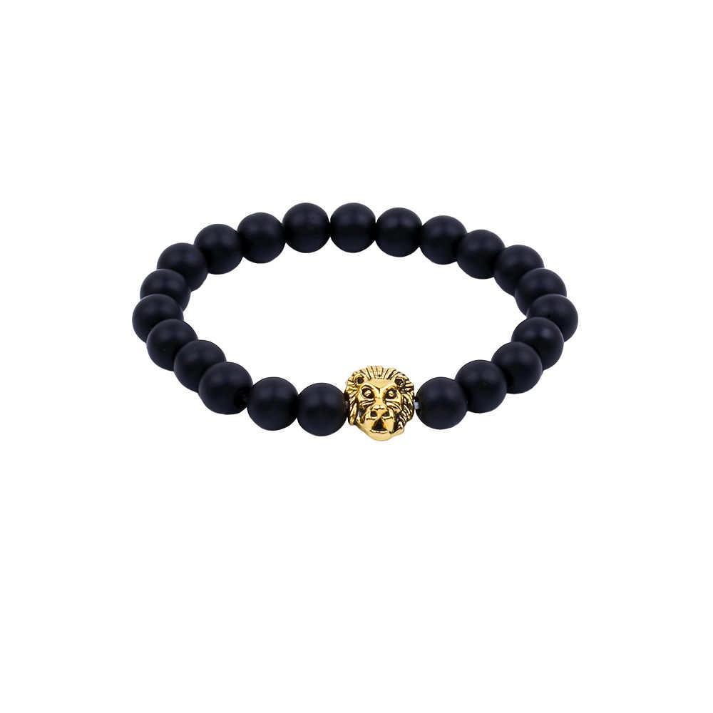 Гламурный браслет из натурального камня Голова Золотого Льва черная лава скраб мужские браслеты из бисера и женщин цепочка для фитнеса ювелирные украшения для влюбленных