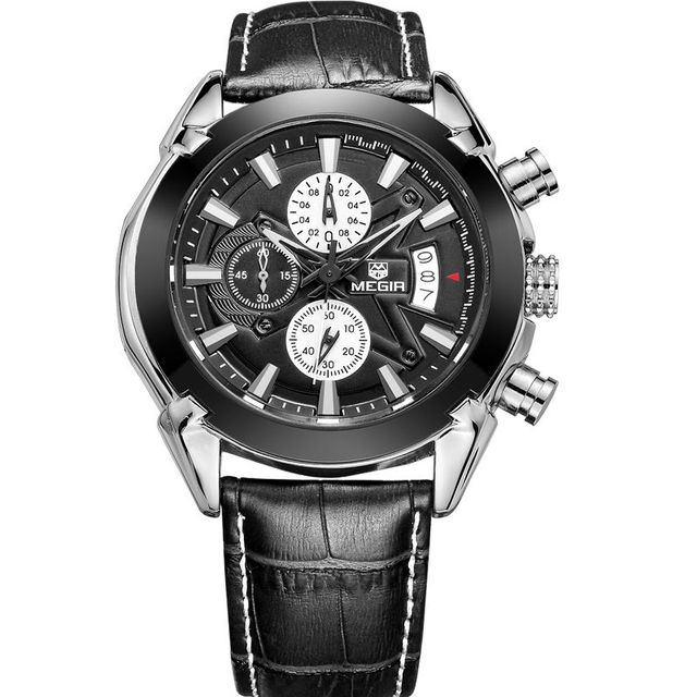 Marca Calendário Cronógrafo Militar Relógios Homens Moda Esportes Casuais Pulseira de Couro Genuíno Relógio Relógio de Tempo relogio masculino