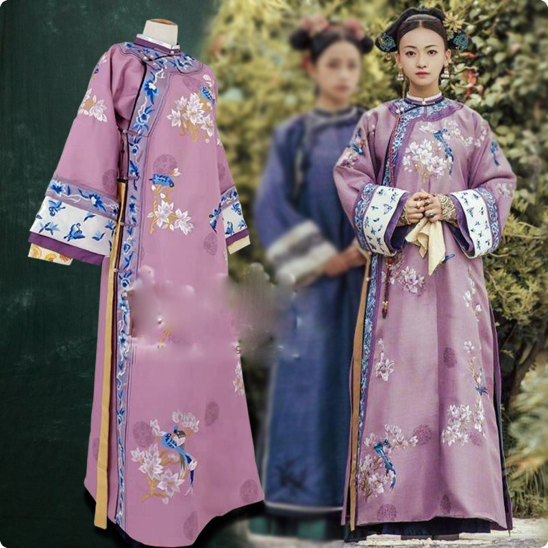 Purple Embroidery Wu JinYan Wei Ying Luo Qing Dynasty Princess Costume Hanfu For TV Play Story Of YanXi Palace