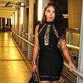 2017 Nueva PRIMAVERA de la Pista Vestido de las mujeres Negro Bodycon Ahueca Hacia Fuera atado Sin Mangas PU patchwork Vestido Del Vendaje Del Partido de Coctel de La Celebridad