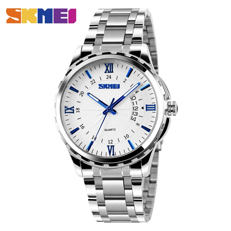 SKMEI Quartz Watch Men mens watches top brand luxury stainless steel bracelet Waterproof Silver Wristwatches Relogio Masculino