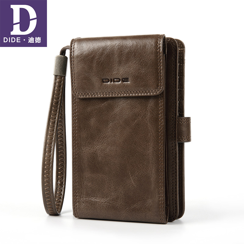 DIDE Cell Phone Pocket Wallet Male Genuine Leather Wallets Back Zipper Coin Purse Clutch Bag Wallet Card Holder Men men wallet male cowhide genuine leather purse money clutch card holder coin short crazy horse photo fashion 2017 male wallets