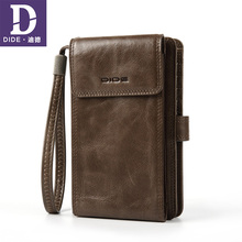 DIDE Cell Phone Pocket Wallet Male Genuine Leather Wallets Back Zipper Coin Purse Clutch Bag Wallet Card Holder Men ograff genuine leather men wallets with phone pocket male clutch bags designer men handy wallet long coin purse id card holder