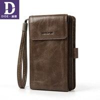 DIDE Cell Phone Pocket Wallet Male Genuine Leather Wallets Back Zipper Coin Purse Clutch Bag Wallet Card Holder Men