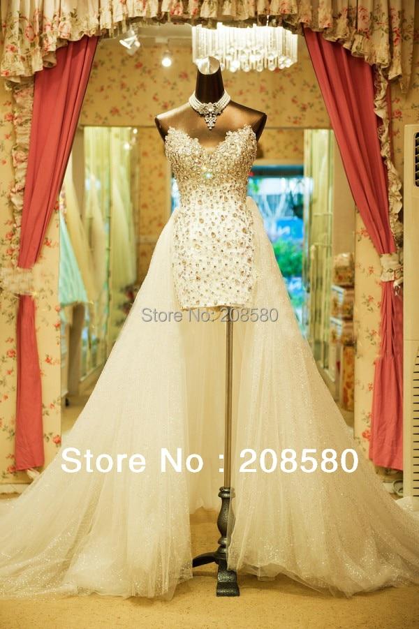 Bling High Low Wedding Dresses Real Photo Crystal Vestidos De Novia ...