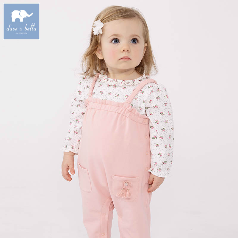 DB7392 dave bella baby girls clothing sets kids overall and tops suit children toddle outfits high quality clothes