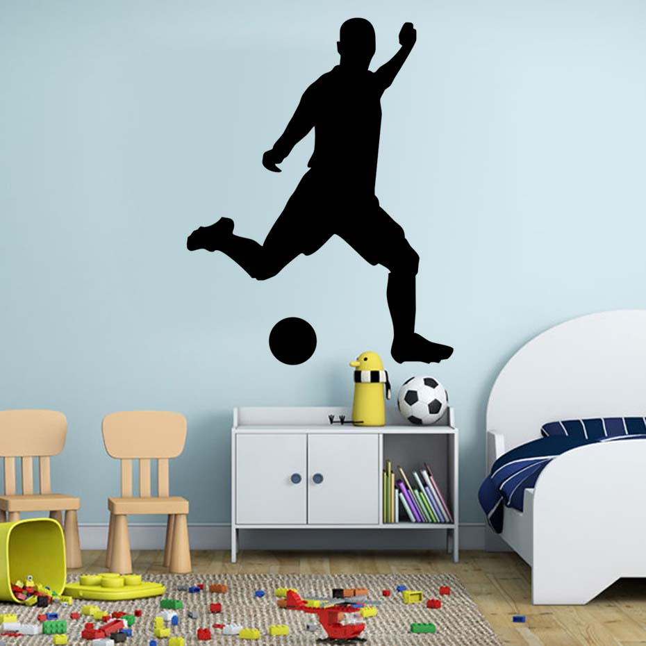 Football Soccer Player Playing Soccer Vinyl Wall Stickers Self Adhesive  Wallpaper Sport Art Murals For Kids Room Home Dec Decals-in Wall Stickers  from Home ...