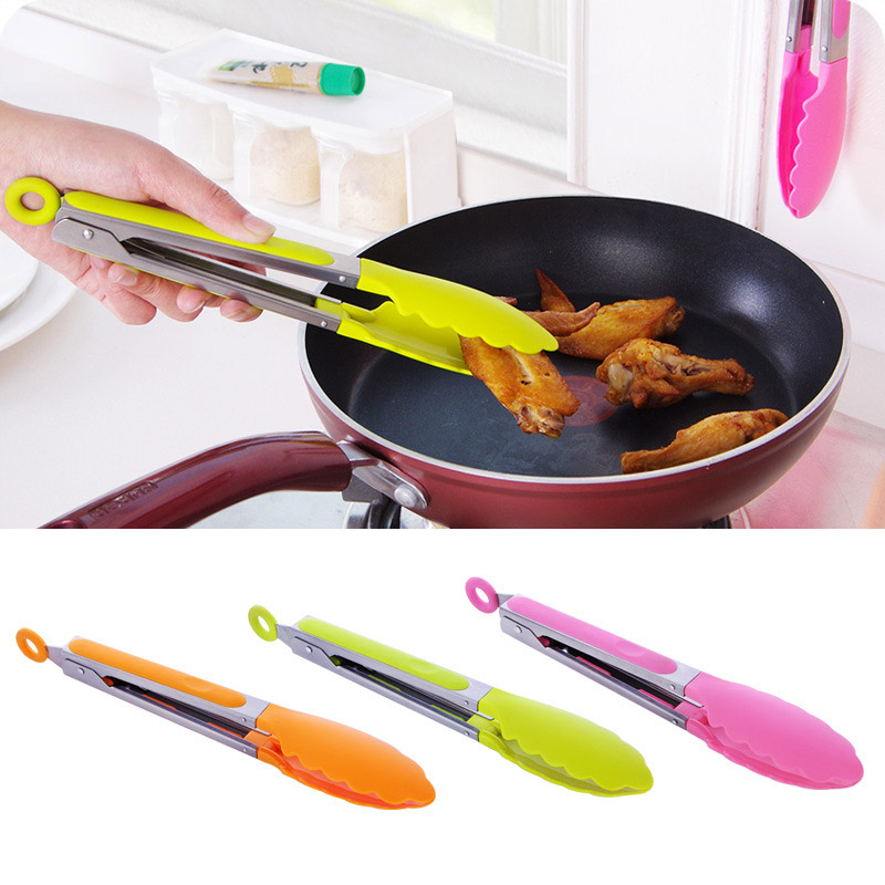 1Pc Stainless Steel BBQ Tongs Kitchen Cooking Food Plastic Handle Serving Barbecue Tongs Random Color KC1460