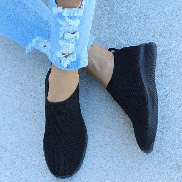 KHTAA Nữ Không Lưới Giày Mùa Thu Phẳng Giày Co Giãn Dệt Kim Mùa Xuân Thường Thoáng Khí Đi Vulcanize Giày Nữ Plus Kích Thước