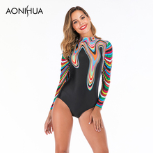 Aonihua 2019 New Arrivals One Piece Swimsuit Female Stripes Design Sexy Women Beach Wear