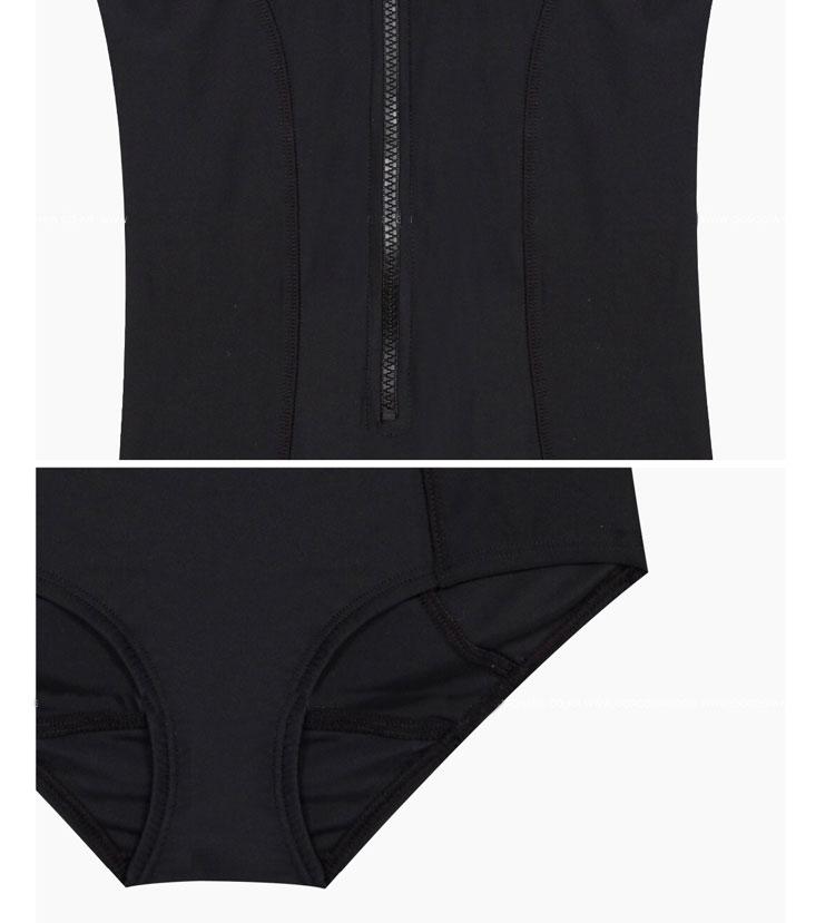 LYSEACIA Black Sexy Women Swimwear One Piece Suits Beach Wear Push Up Swimsuit Zipper New Short Sleeve RASHGUARD Swimming Suit 14