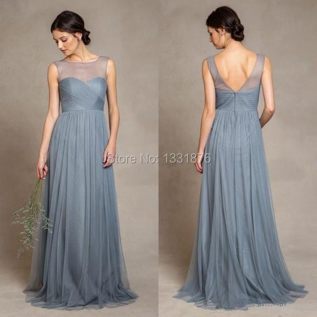 Dusty Azul Tule Vestidos Dama de honra 2016 Illusion Colher Decote Plissados Corpete Uma Linha Até O Chão vestido Elegante Festa de Casamento Das Mulheres