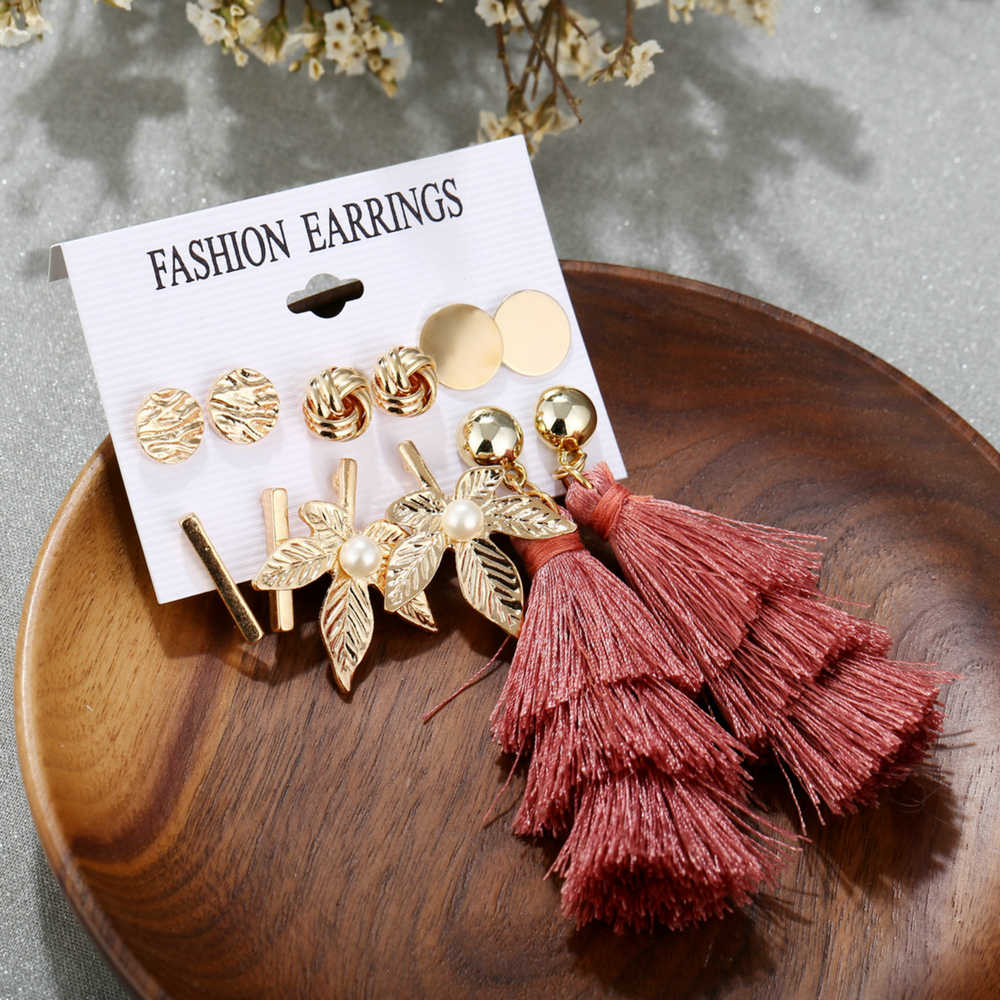 Hot Sale 6 Pairs/Sets 2019 Vintage Gold Color Leaves Long Tassel Simulated Pearl Stud Earrings Set For Women New Brincos Jewelry