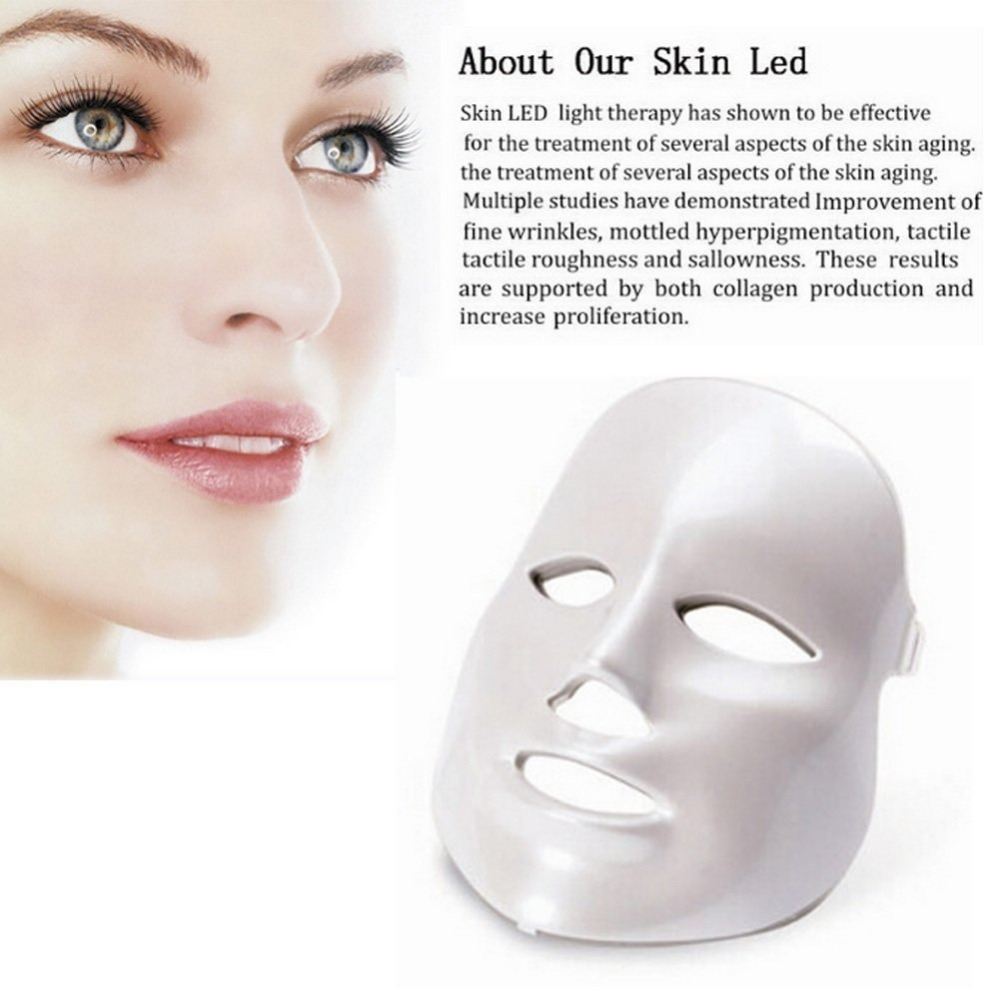 White or Gold 3/7 Colors PDT Photon LED Facial Mask Skin Rejuvenation Wrinkle Removal Electric Anti-Aging LED Mask For Beauty 4 color led pdt light skin care beauty machine led facial spa pdt therapy for skin rejuvenation acne remover anti wrinkle