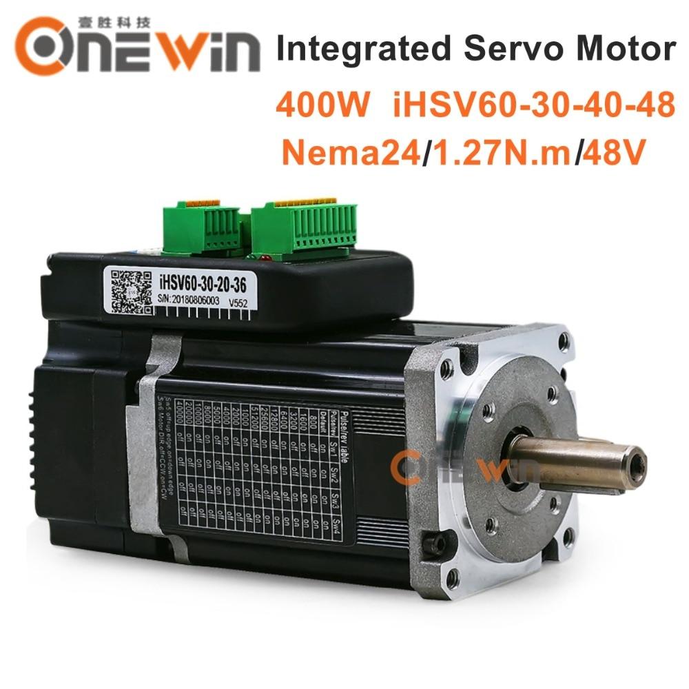 400W NEMA24 Integrated Closed loop Servo Motor 3000rpm 48V 1.27Nm iHSV60-30-40-48