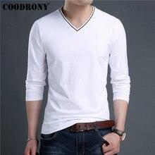 COODRONY Brand T Shirt Men Streetwear Fashion V-Neck Top Tshirt Clothes 2019 Autumn T-Shirt Cotton Tee Homme 95022