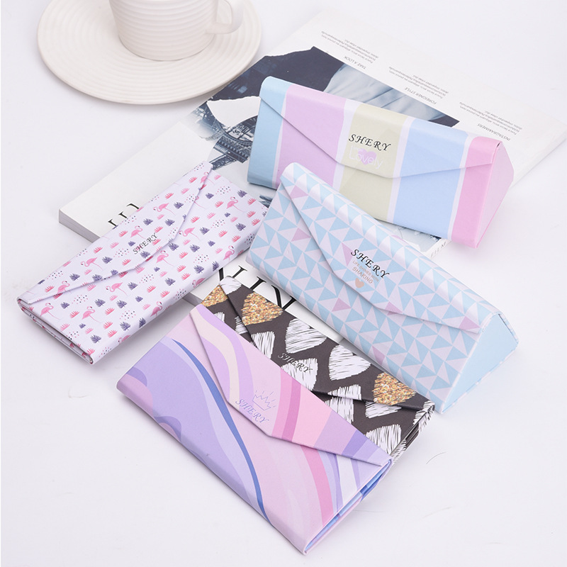 2019 Kawaii Top-grade PU Spectacle Cases For Eyeglasses Fashion Folding Sunglasses Box Bag Portable Triangle Eyewear Protector