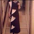 Nuevo estilo Champagen y negro Unique largo Prom vestidos tallas grandes Sadiu estilo fiesta de noche vestidos