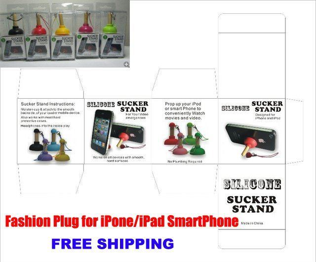 Free Shipping Plunger Shape Sucker Stand with Sling for iPhone/ipad 4G 3G HTC PDA MP4 Gift Box Hot Sale