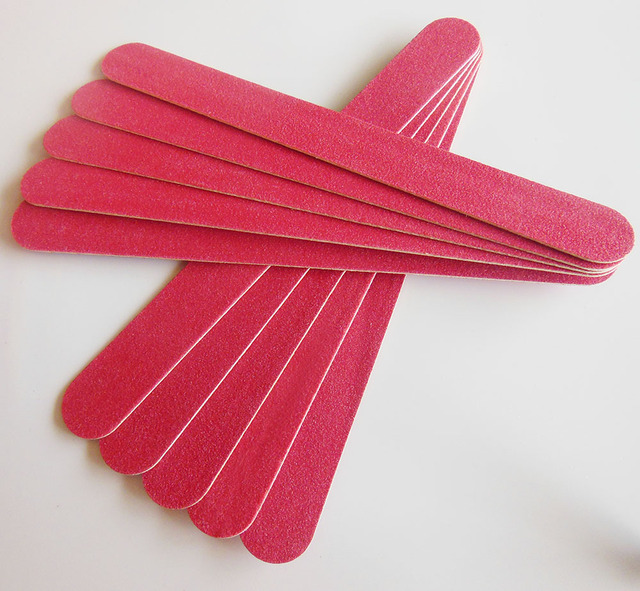 50 Pcs Red Wooden Nail File Boards Thin Manicure Tool Emery Board