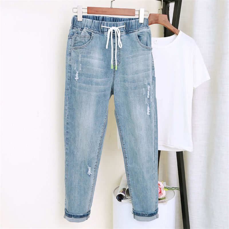 Vintage Jeans Women With High Waist Harem Pants Plus Size 5XL Mom Jeans Elastic Loose Streetwear Boyfriend Jeans For Women Q1184-in Jeans from Women's Clothing on AliExpress - 11.11_Double 11_Singles' Day 1