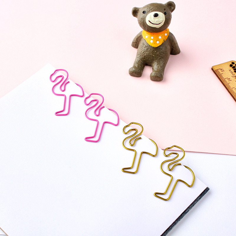 2019 New 20 Piece Metallic Gold/Pink Flamingo Bookmark Paperclip School Paper Stationery Escolar Papelaria Gift Stationery