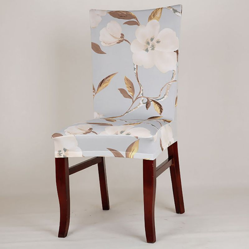 Flower Printing Spandex Stretch Dining Chair Cover Room Wedding Banquet Chair  Cover Party Decor Seat Cover