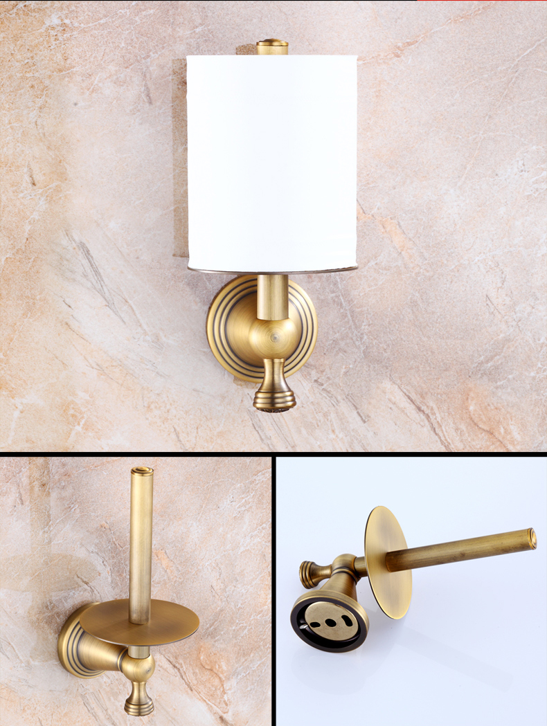 Luxury Creative Wall Mount Roll Toilet Paper Holder Antique Brass Upright Bathroom Toilet Roll Paper Rod