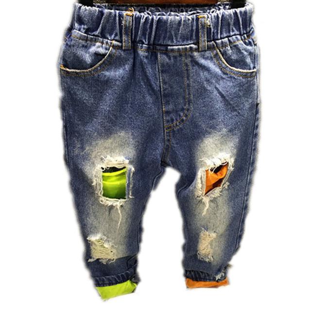 2-7años Niños Jeans Niños Jean Pantalones Niños Bebés Denim Agujeros Pantalones Moda Niños Del Otoño Del Resorte Pantalones de Mezclilla