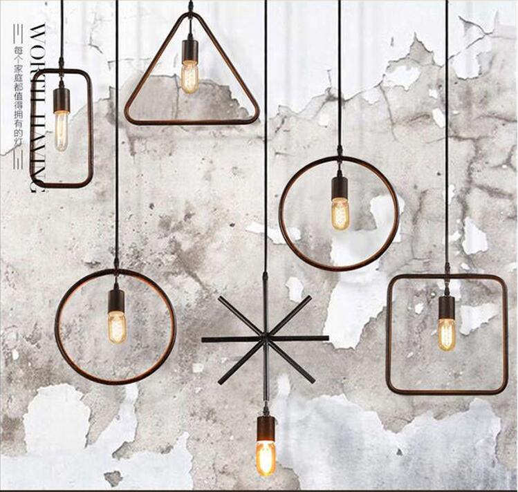 Loft Style Black Metal Pendant Light Geometric patterns Iron Light Cloth Shop Light Dining Light AC90-265V Free Shipping