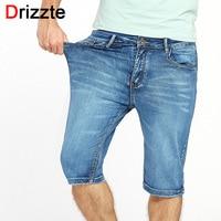Drizzte Brand Plus Size Blue Stretch Lightweight Thin Denim Jeans Short For Men Jean Shorts Pants