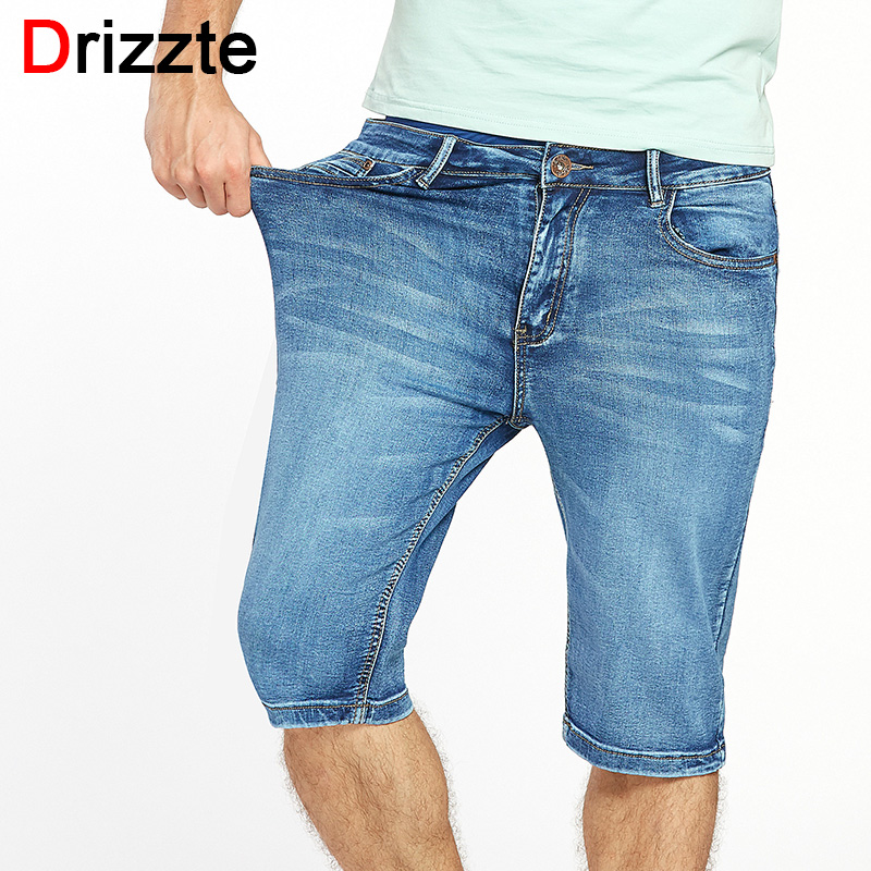 Drizzte Brand Mens Summer Stretch Lightweight Thin Denim Jeans Short for Men Jean Shorts Pants Plus Size 32 33 34 35 36 38 40 42 sulee 2017 summer new arrival plus size jeans shorts men blue short denim pants light and thin material size 28 to 40
