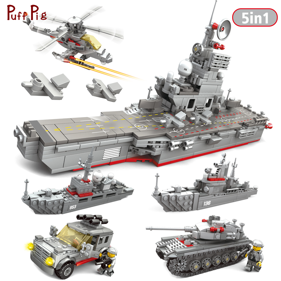 5 In 1 Aircraft Frigate Military Carrier Building Blocks Compatible Legoed Army Weapons Bricks Education Toys For Children Gifts цена