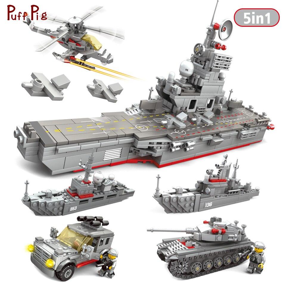 5 In 1 Flugzeug Fregatte Military Träger Bausteine Kompatibel Legoed Armee Waffen Bricks Bildung Spielzeug Für Kinder Geschenke