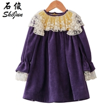 Dream Cradle Purple winter frock with lace , Vintage baby dress Baby Girls spanish style Frock  / Handmade Cotton Kids Dresses
