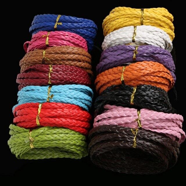 7mm Genişlik Mix Renk Düz Örgülü PU Deri Kordon Halat Dize Boncuk Kabloları Kolye Bilezik Için DIY Takı Bulguları 5 M/grup