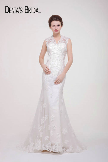 2017 Real Photos Sweetheart Sheer Neckline Mermaid Wedding Dresses ...