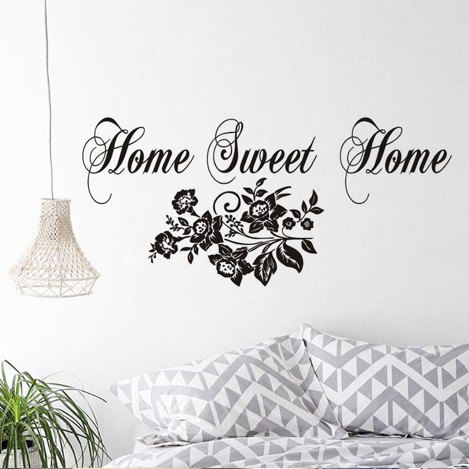 Home Sweet Home Wall Decal Flowers Pattern Baby Nursery Wall Decor .
