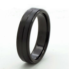 Tailor made 6mm centro groove anillo titanium paso edge wedding band tamaño 3-18 (# tr60)
