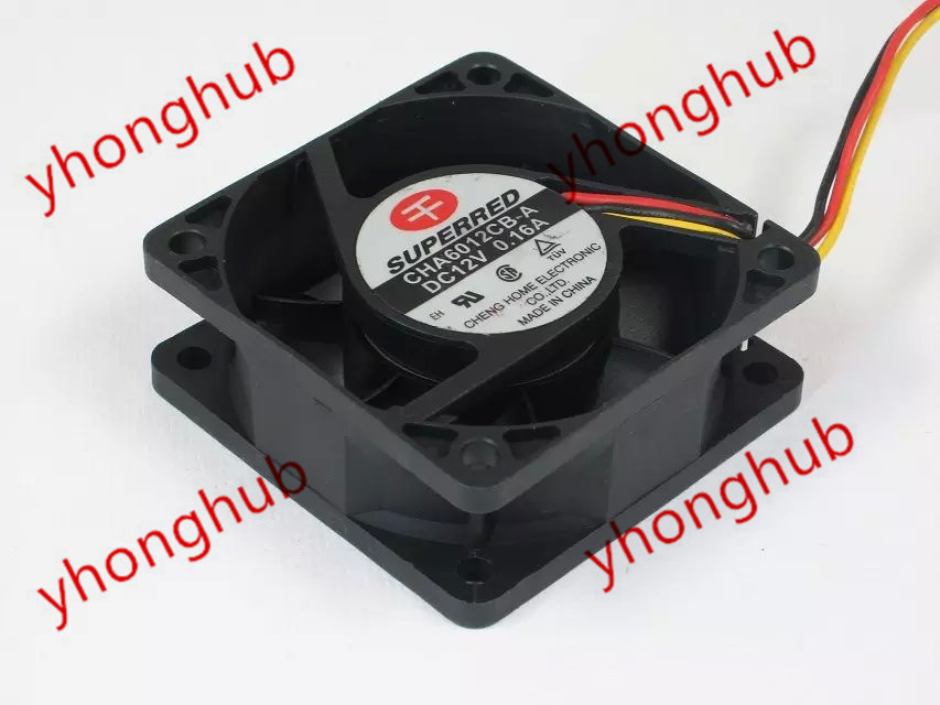 Emacro Для SUPERRED CHA6012CB-A DC 12V 0.16A 3-Wire 60x60x25mm сервера Square Fan