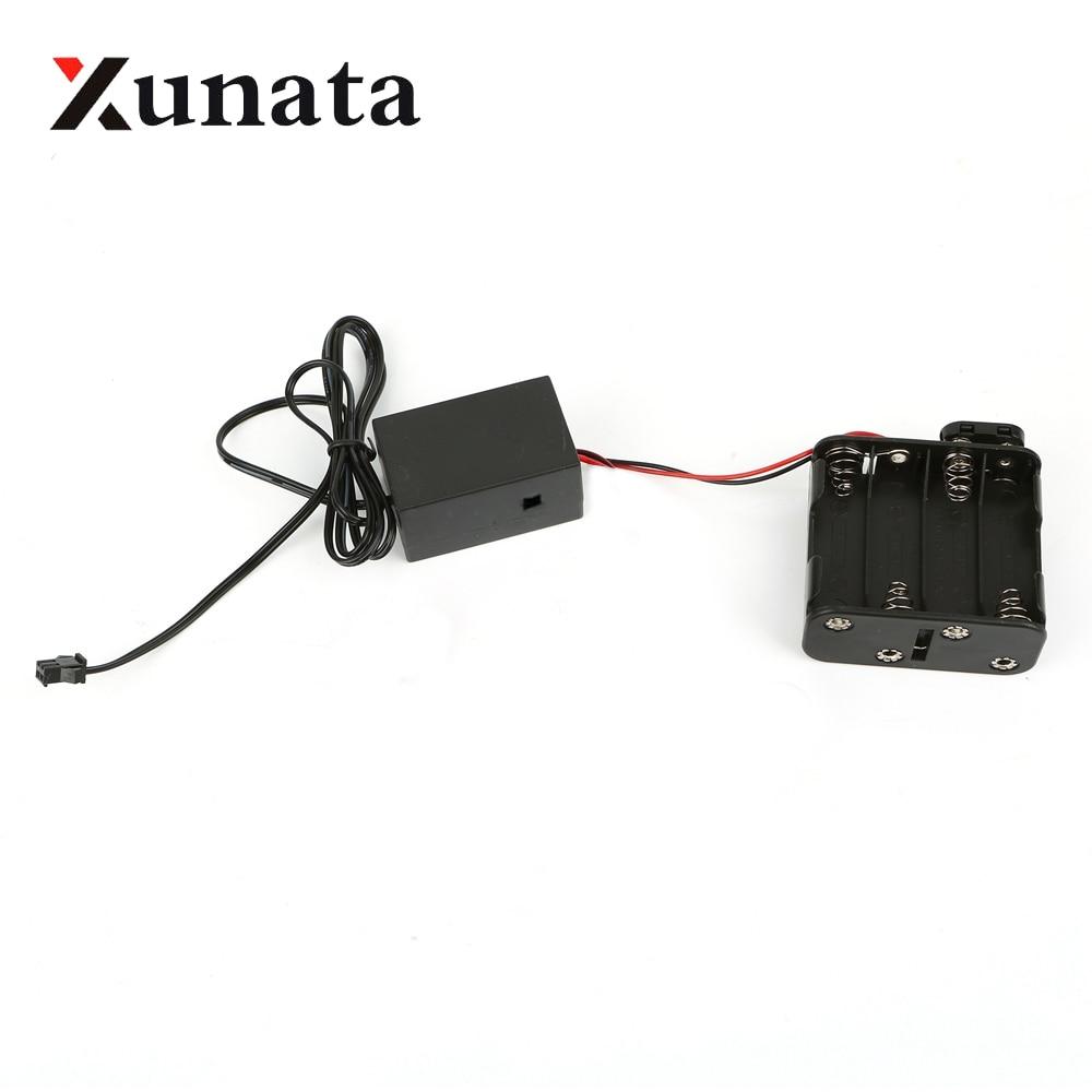 8-AA 12 V batería caja inversor controlador 8X1,5 V para 1 m 3 m 5 m 10 m 15 m 20 m flexible led de neón de seguimiento de cinta de alambre brillante