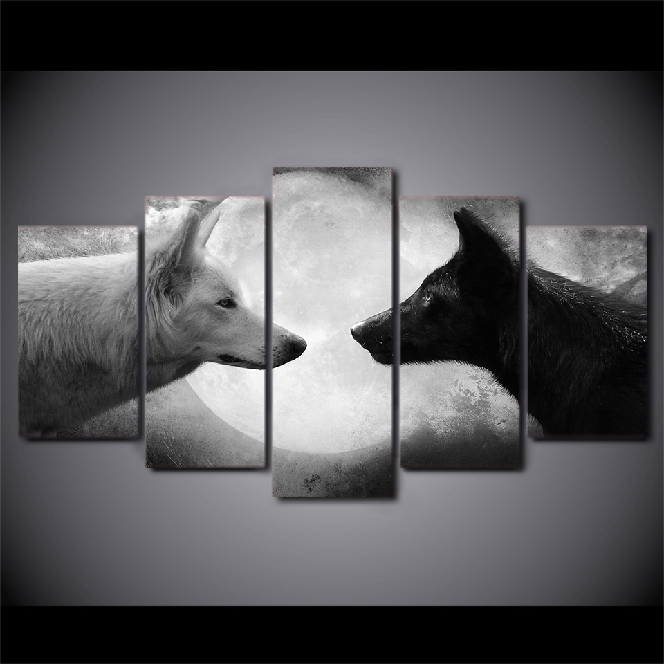 5 piece canvas art hd printed black and white wolves wall