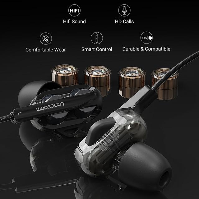Langsdom D4C Wired Earphone Headphones with Microphone Dual Driver Phone Earphones Type C Ear phones auriculares fone de ouvido 1