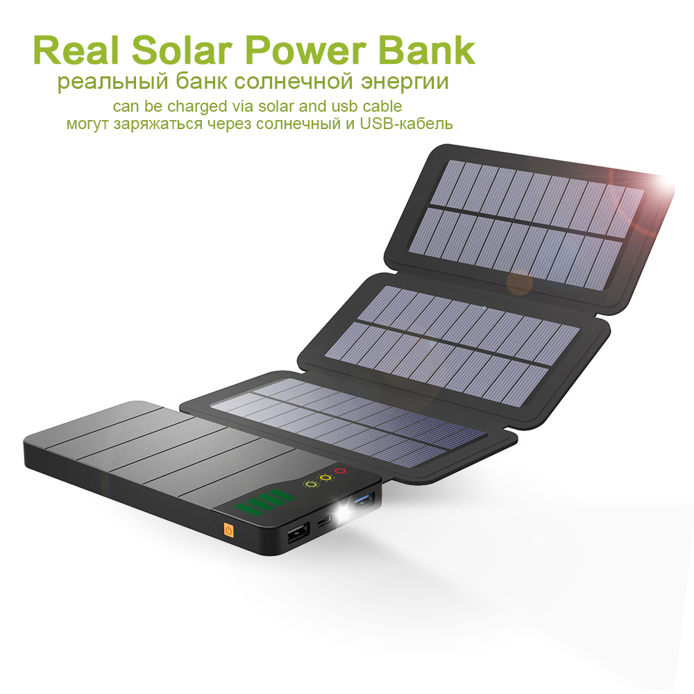 Batterie portable solaire 10000 mAh charge solaire batterie externe pour Xiao mi mi iPhone 6 6 s 7 8 iPhone X iPad Samsung Huawei OPPO Vivo etc.Batterie portable solaire 10000 mAh charge solaire batterie externe pour Xiao mi mi iPhone 6 6 s 7 8 iPhone X iPad Samsung Huawei OPPO Vivo etc.