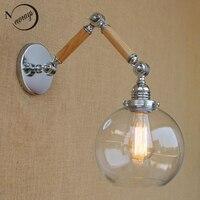 Nordic adjustable swing arm wood glass ball shade wall lamp reading E27/E26 led vintage light for restaurant bedroom cafe bar
