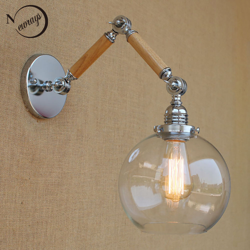 Nordic adjustable swing arm wood glass ball shade wall lamp reading E27/E26 led vintage light for restaurant bedroom cafe bar top grade wood handcrafted swing arm light sconce led wall lamp nordic style home decoration lighting e27 black with switch