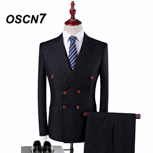 OSCN7 Double Breasted Suit Men 3 Piece 2018 Fashion Wedding Dress Suits for Men Plus Size Casual Costume Homme Mariage 4XL