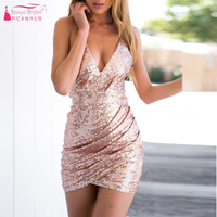 vestido Sequined Sexy Rose Gold Homecoming Dresses V-Neck Backless Short Prom Party Dress Cocktail Dress vestido de renda Z286